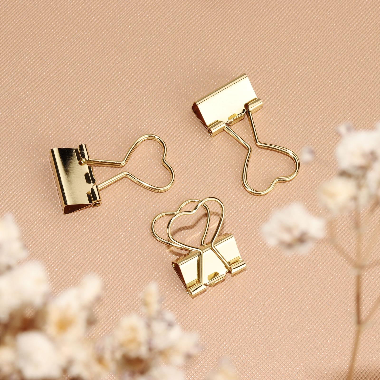 Szív alakú arany bindercsipesz